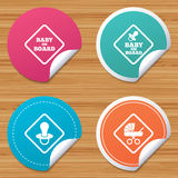 Baby on board icons. Infant caution signs. Round stickers or website banners. Baby on board icons. Infant caution signs. Child buggy carriage symbol. Circle Royalty Free Stock Photo