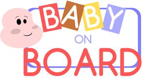 Nice Baby on board label with child isolated Royalty Free Stock Photography