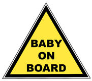 Baby on board sign. Yellow sign with words - baby on board - vector illustration Stock Photos