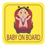 Baby on board sign. Girl with nipple fastened. Baby on board sign. Babygirl in car chair on yellow automobile sticker. Cute little fastened girl. Caution icon vector illustration