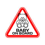 Baby on board sign with child bear toy silhouette in red triangle on a white background. Car sticker with warning. Vector illustration Stock Photos