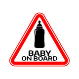 Baby on board sign with child bottle silhouette in red triangle on a white background. Car sticker with warning. Royalty Free Stock Photos