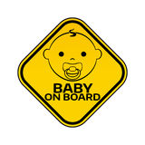 Baby on board sign with child boy smiling  Royalty Free Stock Photo