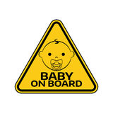 Baby on board sign with child boy smiling  Stock Images