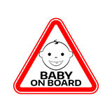Baby on board sign with child boy smiling face silhouette in red triangle on a white background. Car sticker warning. Royalty Free Stock Image