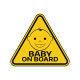 Baby on board sign with child boy smiling face silhouette in yellow triangle on a white background. Stock Photography