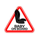 Baby on board sign with child car seat in red triangle on a white background. Car sticker with warning. Stock Image