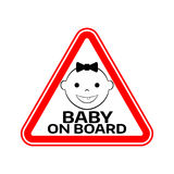 Baby on board sign with child girl smiling face silhouette in red triangle on a white background. Car sticker warning. Royalty Free Stock Photos