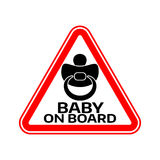 Baby on board sign with child nipple silhouette in red triangle on a white background. Car sticker with warning. Stock Image
