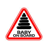 Baby on board sign with child pyramid silhouette in red triangle on a white background. Car sticker with warning. Royalty Free Stock Images
