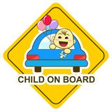 Baby on board sign, happy baby holding balloon in the car Stock Photography