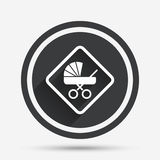 Baby on board sign icon. Infant caution symbol. Baby on board sign icon. Infant in car caution symbol. Baby buggy carriage. Circle flat button with shadow and Royalty Free Stock Photos