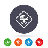 Baby on board sign icon. Infant caution symbol. Baby on board sign icon. Infant in car caution symbol. Baby buggy carriage. Round colourful buttons with flat Royalty Free Stock Photos