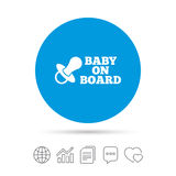 Baby on board sign icon. Infant caution symbol. Royalty Free Stock Image