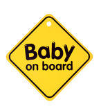 Baby on board sign. On the white background. Isolated on white royalty free stock photography