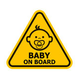 Baby on board sign. Baby on board yellow sign. Vector illustration Stock Images