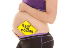 Baby on board stand hold belly Royalty Free Stock Photography