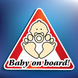 Baby on board sticker Stock Images
