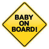 Baby on Board warning sign vector illustration