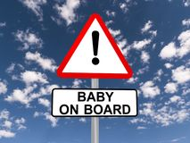Baby on board warning sign stock illustration