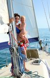 Baby on board. Yachting Stock Photo