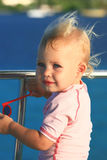 Baby on boat Royalty Free Stock Image