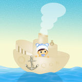 Baby on boat Royalty Free Stock Photos