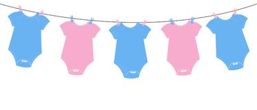 Baby body. Baby gender reveal background. Baby gender reveal. Hanging Pink and blue body Stock Photos