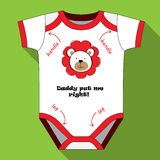 Baby bodysuit with print and inscription in English. Stock Photos