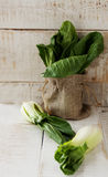 Baby bok choy on a wooden table Royalty Free Stock Images