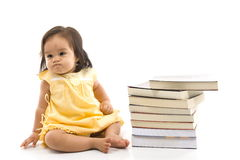 Baby and Book Royalty Free Stock Images