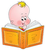 Baby with book. Illustration for children. A series Baby Royalty Free Stock Photo