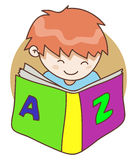 Baby and The Book. Illustration of baby reading book in smiling Royalty Free Stock Photo