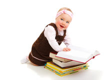 Baby with books Royalty Free Stock Photos