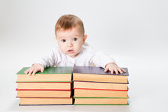 Baby and Books Royalty Free Stock Photos