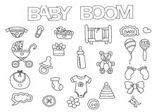 Baby boom elements hand drawn set. Coloring book template.  Outline doodle Stock Images