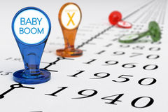 Baby Boom Generation. Timeline with blue sign where it is written the text baby boom, illustration of baby boomers generation born between the years 1945 and vector illustration