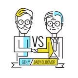 Baby boomers CONTRE la génération y Ressource humaine et travail d'équipe d'affaires illustration libre de droits