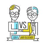 Baby boomers VS generation y. Business human resource and teamwork. Royalty Free Stock Photography