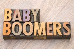 Baby boomers word abstract in wood type. Baby boomers word abstract in vintage letterpress wood type stock photos