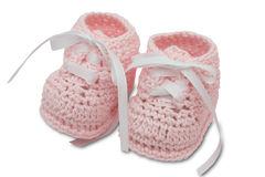 Baby Booties. Pink baby booties isolated on a white background with clipping path, baby booties royalty free stock photography