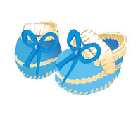Baby booties. With blue bow vector illustration