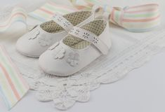 Baby booties background with white lace and pastel colour ribbon. Suitable for babtism, christening, birthday or baby shower invitation with space for text Royalty Free Stock Photo