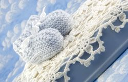 Baby Booties for Boy Royalty Free Stock Photo