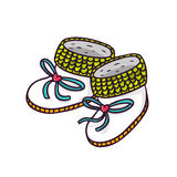Baby booties, bright vector children illustration of infant knitted shoes  on white Stock Photography