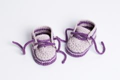 Baby Booties Crochet on white background. Of Cute Handmade Baby Booties Crochet on white background isolated Stock Photography