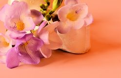 Baby booties and freesias Stock Photography