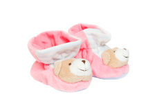 Pink baby booties isolated on a white background Stock Photo