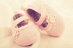 Baby booties shoes for newborn girl Stock Photos