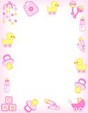 Baby border. Baby girl accessories border including  carriage, safety pins, pacifier, feeding bottle, duck, rattle, mobile colorful graphics. vector available Stock Photography